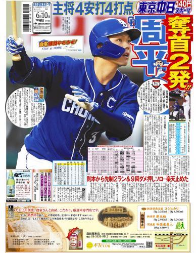 【2021年6月10日(木)】東京中日スポーツ バックナンバー