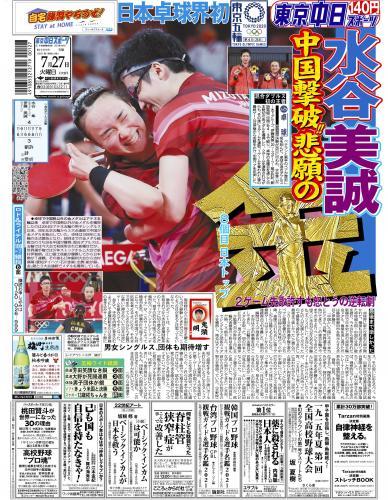【2021年7月27日(火)】東京中日スポーツ バックナンバー