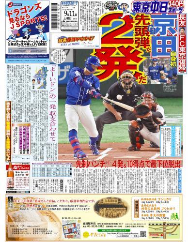 【2021年9月11日(土)】東京中日スポーツ バックナンバー